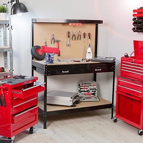 TecTake Werkbank 120 x 60 x 156 cm aus Metall mit Werkzeugwand - 2