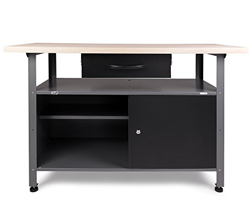 Ondis24 stabile 120 cm breite Montagewerkbank Werkstatteinrichtung Werkstatt Werkbank Werktisch mit abschließbarer Tür, stabiles Modell mit höhenverstellbaren Füßen