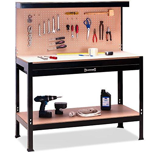 Werkbank Deuba® ✔ XXL 150x120x60cm ✔ Lochwand ✔ Profi Ausführung - Werkstatttisch Packtisch Werktisch