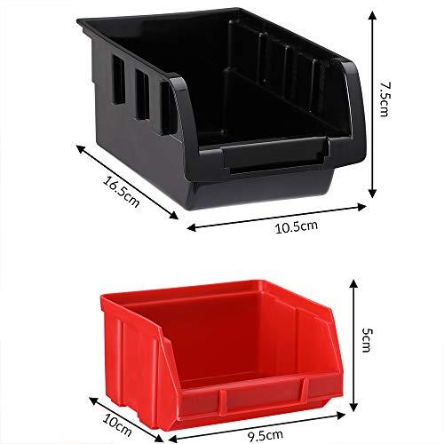 Deuba® Wandregal + Stapelboxen ✔ 32 tlg Box ✔ extra starke Wandplatten ✔ Regal erweiterbar ✔ Werkstattregal Lagerregal Werkstattwandregal Steckregal - 7