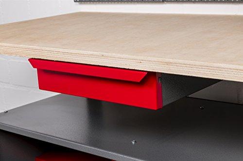Werkbank aus Metall mit 30 mm Sperrholzplatte mit einer verschließbaren Tür, einer Schublade sowie einer Zwischenablage, Maße B 120 x H 85 X T 60 cm - 5