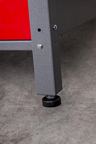 Werkbank aus Metall mit 30 mm Sperrholzplatte mit einer verschließbaren Tür, einer Schublade sowie einer Zwischenablage, Maße B 120 x H 85 X T 60 cm - 7