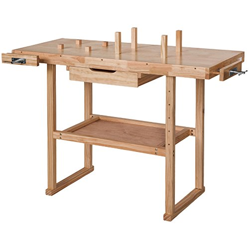TecTake Workbench 117 x 47,5 x 83 cm Wood Timber Workshop Wooden Work Working Bench Table by TecTake