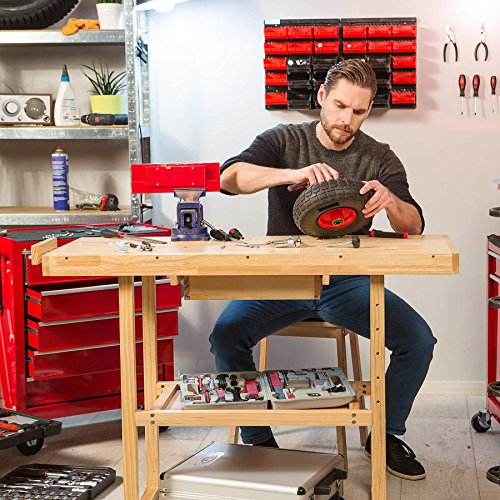 TecTake Workbench 117 x 47,5 x 83 cm Wood Timber Workshop Wooden Work Working Bench Table by TecTake - 3