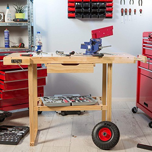 TecTake Workbench 117 x 47,5 x 83 cm Wood Timber Workshop Wooden Work Working Bench Table by TecTake - 2