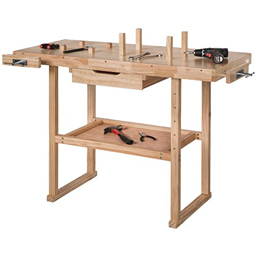 TecTake Workbench 117 x 47,5 x 83 cm Wood Timber Workshop Wooden Work Working Bench Table by TecTake - 4