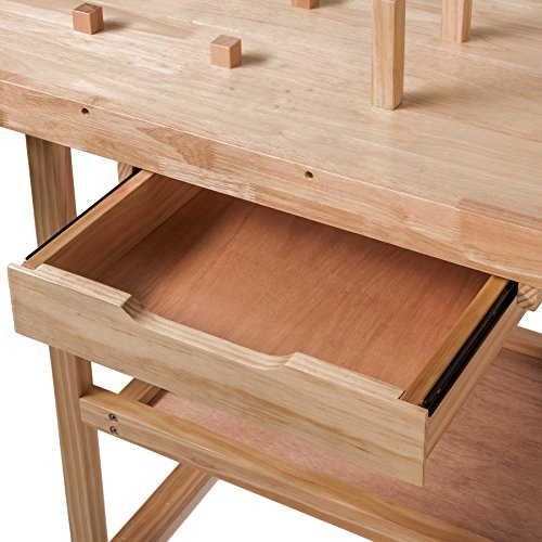 TecTake Workbench 117 x 47,5 x 83 cm Wood Timber Workshop Wooden Work Working Bench Table by TecTake - 9