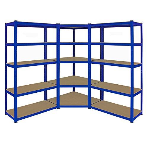 Monster Racking Sparangebot 1 x blaues T-Rax 90cm Eckregaleinheit Eckregal + 2 x blaue T-Rax 90cm Hochleistungsregale Schwerlastregal Lagerregal Garagenregal Stahlregal Industrieregal Werkstattregal S