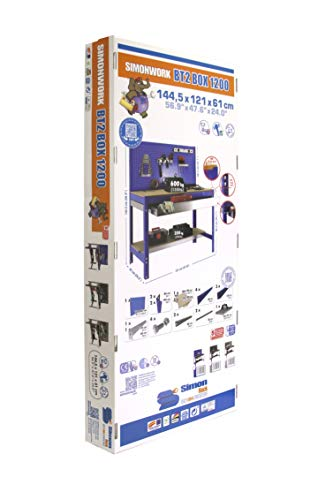 simonrack bt-2Box 1200-Set Werkbank blau/Holz - 8