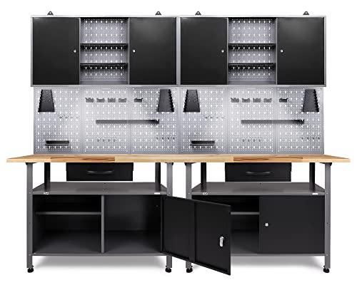 Ondis24 Werkstatteinrichtung 6-teilig Werkbank Werkzeugschrank Werkzeugwand-Lochwand mit Haken + 2x LED Touchlampe