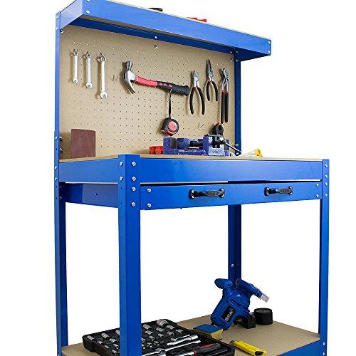 BITUXX® Werkbank Werktisch Arbeitstisch Arbeitsplatte Lochwand Schublade Werkstatt 80 x 50 x 140 cm - 7