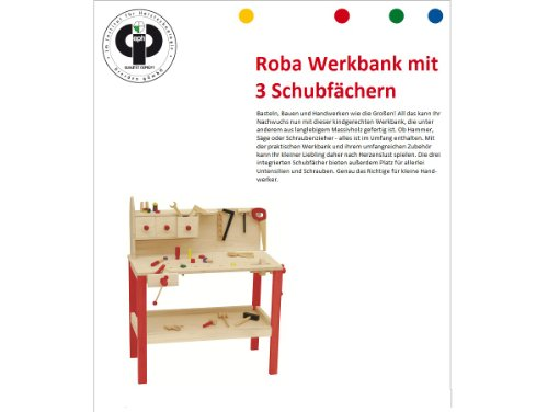 roba Werkbank, grosse Spielwerkbank aus Holz, Meister-Werkbank mit umfangreichem Werkzeug Set, grosser Arbeitsplatte, Ablage u, 3 Schubfächern - 6