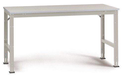Manuflex Arbeits-Grundtisch UNIVERSAL Standard mit Melaminplatte, BxTxH = 1250x800x760-870 mm