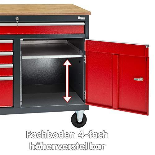 DEMA Mobile Werkbank rot/anthr. 5 Schubl. 1T. 120x60x93 - 7