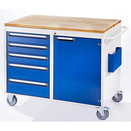 RAU Werkbank, fahrbar - 5 Schubladen, 1 Tür, Holzarbeitsfläche, lichtgrau / enzianblau - Fahrbare Werkbänke Werkbänke, fahrbar Fahrbare Werkbänke Werkbänke, fahrbar