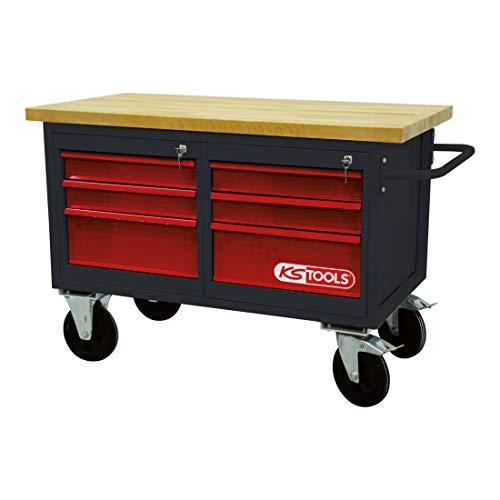 KS Tools 8650011 Fahrbare Werkbank mit 6 Schubladen