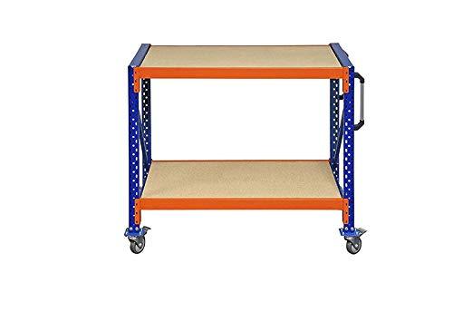 Werkbank fahrbar, Packtisch mit Holzboden verschiedene Breiten/Höhen/Tiefen/Ebenen (120/104/60cm (B/H/T), 2 Ebenen)