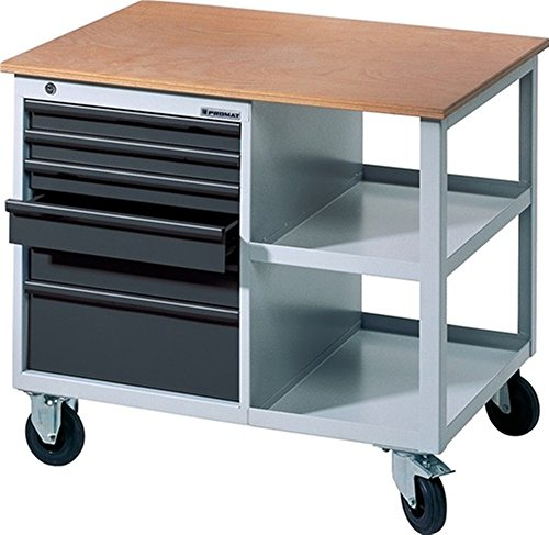 Promat Werkbank BT 495 B885xT605xH805mm grau/anthrazit fahrbar Schubladen 2x50 1x75 2x100 1x175