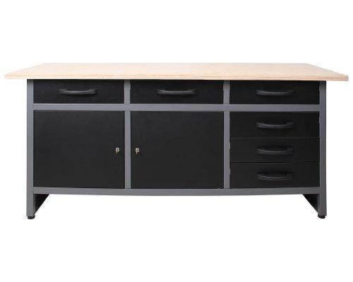 Ondis24 4250627025733 Werkbank, Metall, schwarz / grau, 170 x 60 x 85 cm