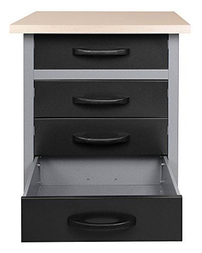 Ondis24 Werkbank Werktisch Montagewerkbank Werkstatttisch Schubladenschrank, 60 cm breit mit 4 rollengeführten Schubläden - 2