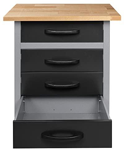 Ondis24 Werkbank Werktisch Werkstatteinrichtung mit 4 Schubladen 60 x 60 cm Arbeitshöhe (85 cm) - 4