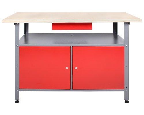 Ondis24 Werkbank abschließbar Werktisch Montagewerkbank Werkstatttisch rot mit Türen