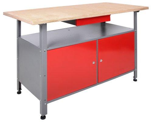 Ondis24 Werkbank abschließbar Werktisch Montagewerkbank Werkstatttisch rot mit Türen - 3