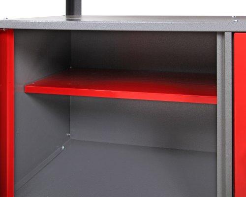 Ondis24 Werkbank abschließbar Werktisch Montagewerkbank Werkstatttisch rot mit Türen - 8