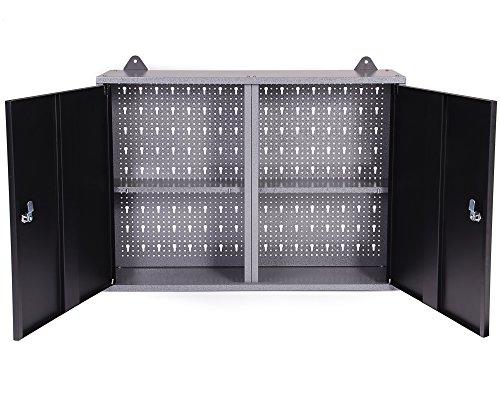 Ondis24 Montagewerkbank mit 2 geschlossenen Türen und 2 Schubläden, Werkstattschrank mit offenem Mittelteil, Eurlochung Schlüssellochung Werkzeugwand mit 22 Werkzeughalter - 9
