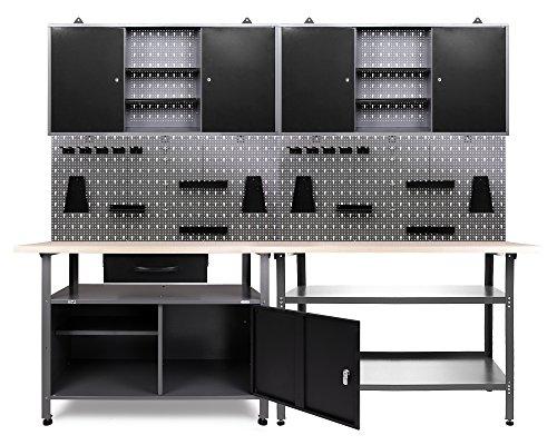 Ondis24 Werkstatteinrichung grau Werkbank Werkzeugschrank abschließbar Lochwand mit Haken 240 x 60 x 202 (H) cm
