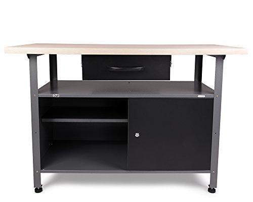 Ondis24 Werkstatteinrichung grau Werkbank Werkzeugschrank abschließbar Lochwand mit Haken 240 x 60 x 202 (H) cm - 3