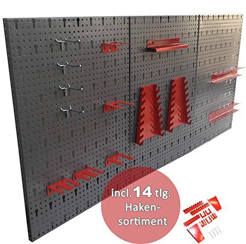 Dreiteilige Werkzeuglochwand aus Metall mit 14tlg. Hakenset, ca. 120 x 60 x 1 cm - 2