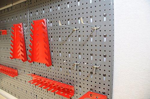 Dreiteilige Werkzeuglochwand aus Metall mit 14tlg. Hakenset, ca. 120 x 60 x 1 cm - 5