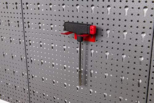 Große Werkzeug Lochwand bestehend aus 4 Lochblechen á 58 x 40 cm und Hakensortiment 22 Teile. Aus Metall in Hammerschlag-Grau und Rot. Gesamtmaß: 160 x 58 x 1 cm - 3