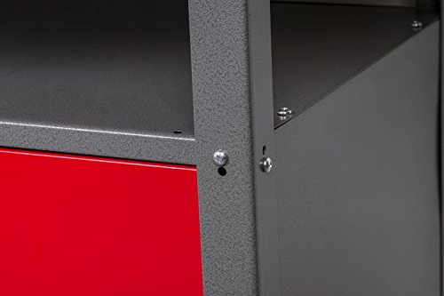 Werkbank aus Metall mit 30 mm Sperrholzplatte, robusten Oberflächen, verschließbaren Türen und Schublade, Maße B 1,20 x H 0,85 X T 0,60 m - 3