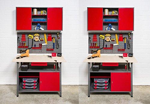 Große Werkstatteinrichtung bestehend aus 2 Werkbänken, 2 Metallschränken und 2 Euro-Lochwänden - individuell kombinierbar