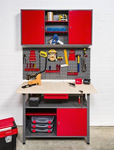 Große Werkstatteinrichtung bestehend aus 2 Werkbänken, 2 Metallschränken und 2 Euro-Lochwänden – individuell kombinierbar - 9