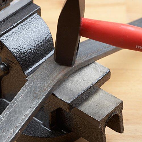 Meister Schraubstock 75 mm ✓ Drehbar ✓ Bis 75 mm Spannweite ✓ Stahlbacken | Tischschraubstock mit Amboss | Schraubstock massiv für Werkbank mit zusätzlichen Schutzbacken | 5142500 - 5