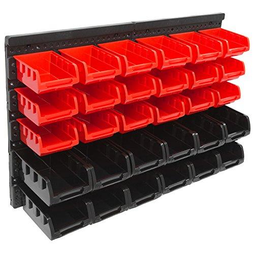 Panorama24 Wandregal Stapelboxen Set ✔ 32 tlg Box ✔ extra starke Wandplatten ✔ Regal erweiterbar ✔ Werkstattregal Lagerregal Werkstattwandregal Steckregal Sortimentskasten Kleinteilemagazin