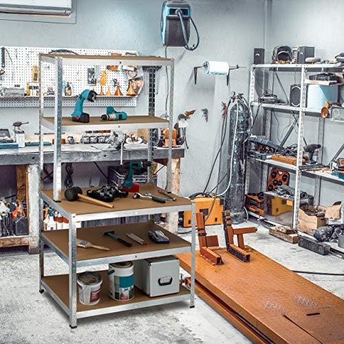 Relaxdays Schwerlastregal mit Werkbank, 900 Kg 5 Böden, Freistehend, HBT 180x 100 x 60 cm, Metall, MDF, Steckregal, grau - 2