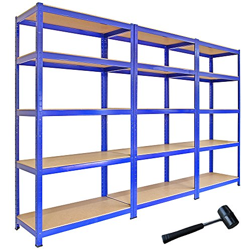 Monster Racking Sparangebot 3 x T-Rax Lagerregal Hochleistungsregal Garagenregal Stahlregal Industrieregal Werkstattregal Steckregal Lagerregal 90cm x 45cm x 180cm 100% Schraubenfrei + Gratis Gummihammer