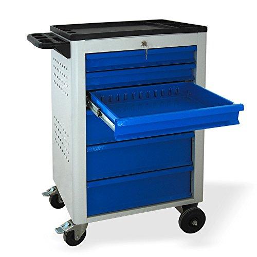 Werkstattwagen mit Rollen, BASIC-Serie, 6 Schubladen 3×80 mm 3×160 mm grau/blau (RAL 7035/5015), abschließbar, Rollwagen/Werkzeugwagen mit Rollen - 2