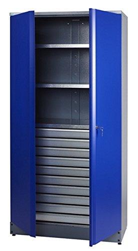 Küpper Material- / Hochschrank 70597, 91x180x45cm, 2 stabile Fachböden mit je 75 kg Tragkraft, 10 kugelgelagerte Schubladen, made in Germany