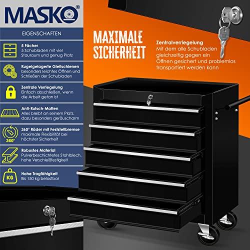 Masko® Werkstattwagen – 5 Schubladen, schwarz ✓ Abschließbar ✓ Massives Metall | Mobiler Werkzeug-Wagen ohne Werkzeug | Profi Werkstatt-Wagen | Rollwagen zur Werkzeugaufbewahrung mit Schloss | - 2