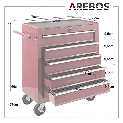 Arebos Werkstattwagen 5 Fächer/zentral abschließbar/Anti-Rutschbeschichtung/Räder mit Festellbremse/Massives Metall/rot, blau oder schwarz (rot) - 5