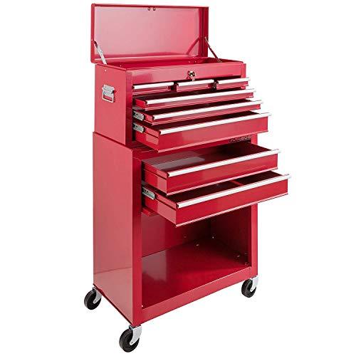 Arebos Werkstattwagen 9 Fächer rot (✓ zentral abschließbar, ✓ Abnehmbarer Werkzeugkasten, ✓ Massives Metall) - 7