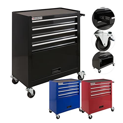 Arebos Werkstattwagen 4 Fächer + großes Fach/mit Antirutschmatten / 2 Rollen mit Festellbremse (Schwarz)