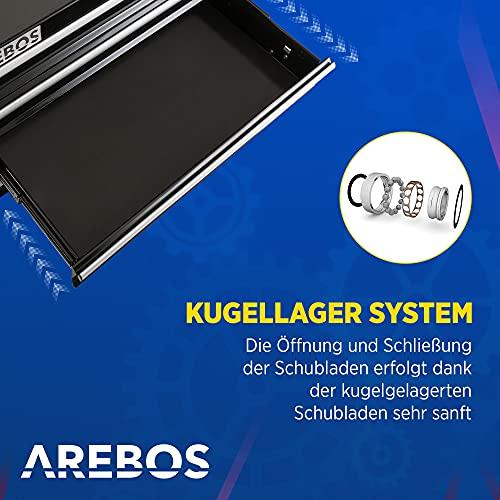Arebos Werkstattwagen 4 Fächer + großes Fach/mit Antirutschmatten / 2 Rollen mit Festellbremse (Schwarz) - 3
