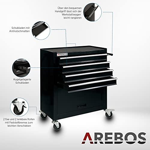 Arebos Werkstattwagen 4 Fächer + großes Fach/mit Antirutschmatten / 2 Rollen mit Festellbremse (Schwarz) - 4