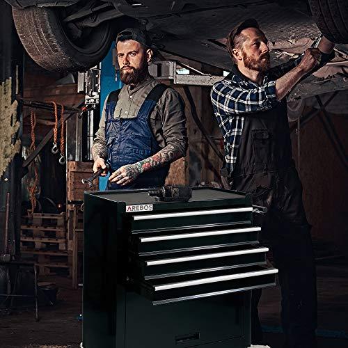 Arebos Werkstattwagen 4 Fächer + großes Fach/mit Antirutschmatten / 2 Rollen mit Festellbremse (Schwarz) - 7